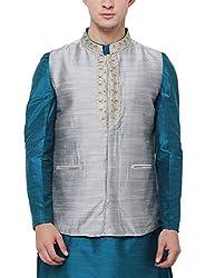 Svanik grey Rayon Blend Embroidered Waistcoat