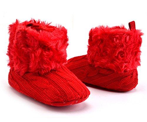 Butterme Baby Jungen Mädchen weiche Sohle Antibeleg warme Winter Säuglingsvor Wanderer Schuh Schnee Aufladungen Socken mit dem Pelz getrimmt 3-6 Monate (Rot Getrimmt)