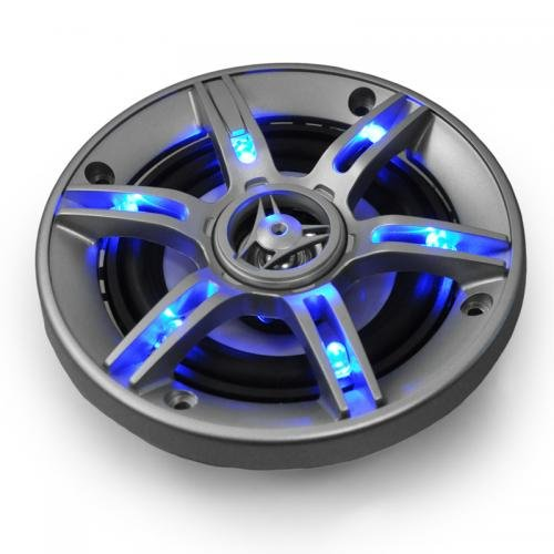 auna CS-LED4 Car Speakers (500W Max, 4`` Diameter amp; LED Effect) - Blue