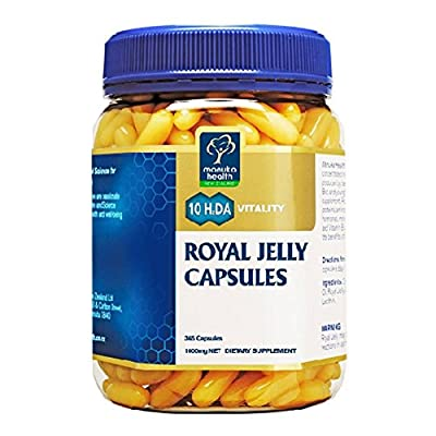 Manuka Health 10hda Royal Jelly 1000mg 365 Capsules 100% Pure Royal Jelly Immune System Booster & Supports Skin Health & Vitality (365) from Manuka Health New Zealand Ltd