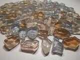 Mosaiksteine Bruchglas Mosaik 1000g Blau Beige Crashglas 8mm lose Steine zum Basteln