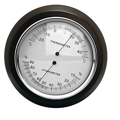 ZUEN Indoor Outdoor Hygrometer/Thermometer, Holzrahmen Barometer Traditionelle Heimat Wetterstation Wanddekor Umgebungswetter, Schwarz -