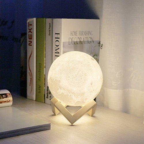 3D Mond Lampe 18cm, Lampwin USB LED Nachtlicht, Weiß/Warm Farbe Dimmbare Touch-Steuerung Nachttischlampe mit Holzständer, bestes Geschenk für Kinder & Freundin auf Feste und Geburtstage (18cm/7.1in)