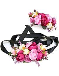 Ever Fairy moda flor cinturones de flores Conjunto de peine de pelo para mujer niña dama de honor vestido de satén…