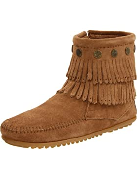 Minnetonka Double Fringe Side Damen Kurzschaft Mokassin Boots