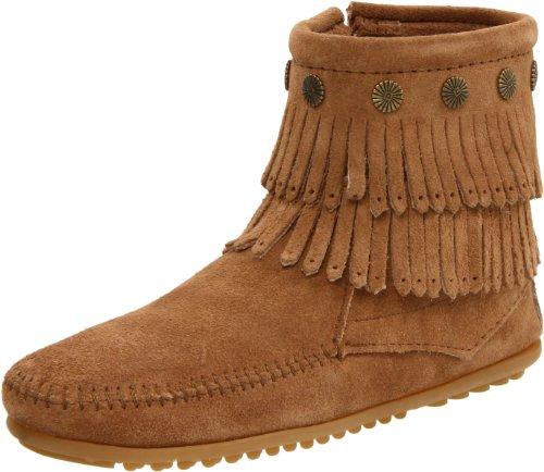 Minnetonka Echte Stiefel (Minnetonka Damen DOUBLE FRINGE SIDE ZIP BOOT Mokassin Stiefel, Beige (Taupe 7T), 39 EU)