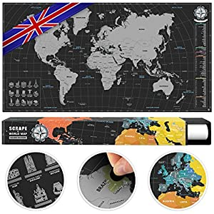#benehacks Scratch Off World Map Poster in ENGLISH – Track Your Travel Adventures with Detailed Cartography – Silver/Black – 84 x 44 – World Travel Map with Landmarks