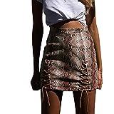 Yazidan Damen Snake Print Stripped Bandage Stoffrock Elastischer Slim fit Kurz Rock Faux Leather Skirt Minirock Damen Hohe Taille Bodycon Clubwear Paket Hüfte Dünnes Kleid