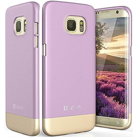 Samsung Galaxy S7 Edge Funda, Vena [iSlide][Two- Tone] Ultra Ajuste Delgado del Estuche Rígido para Samsung Galaxy S7 Edge (Lavanda / Oro Champagne)