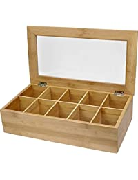 Winmaarc Handmade Steamwich Tea Storage Box with Clear Hinged Lid Tea Chest