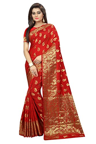 Hinayat Fashion Red Banarasi Silk Saree (Free Size)