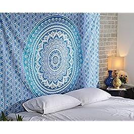 Aakriti Gallery Tapestry Regina Verde Ombre Hippie Arazzo Mandala Bohemian Psichedelico intricato Indiano copriletto 233,7 x 208,3 cm