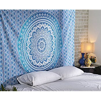 Aakriti Gallery Tapestry Queen Ombre Hippie Tapestries Mandala Bohemian Psychedelic Intricate Indian Bedspread 92x82 inches (Blue)