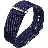1pc 18mm Bande de Montre Bracelet Strap Variation Nylon Déployante Boucle Inox