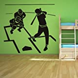 Deportes beisbol bateador escena arte de pared adhesivos pegatinas pared 01 - 50cm Altura - 50cm Ancho - Negro Vinilo