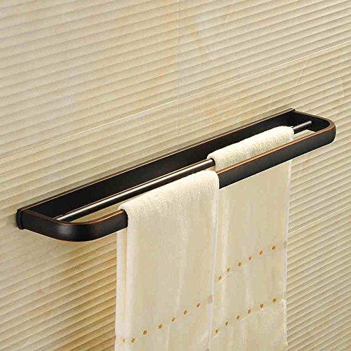 FUFU Barres de Serviette Noir Salle de bains antique Cuivre Porte-serviettes simple Quincaillerie Accessoires de salle de bain Porte-serviettes (or, noir) (Couleur : Noir, taille : 1001)