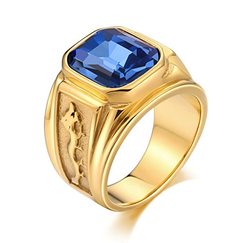 Bishilin Edelstahlring Herren Blau Rechteck Zirkonia Drachen Retro Gold Ring Partnerringe Größe 60 (19.1)