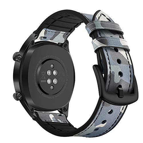 AISPORTS Ersatz-Armband für Samsung Gear S3 Frontier/Classic Band Leder Silikon Hybrid 22 mm Armband Ersatz Band für Huawei Watch GT/Honor Watch Magic/Samsung Galaxy Watch 46 mm blau Camouflage