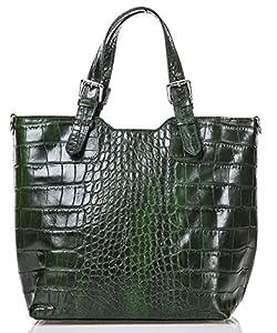 italienische Damen Handtasche Lima aus echtem Leder in smaragd grün, Made in Italy, Shopper 31x30 cm