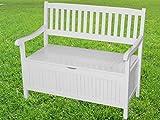 Sedex Truhenbank GREENA 2-Sitzer Gartenbank Parkbank Holzbank FSC® 100% Eukalyptusholz - weiß