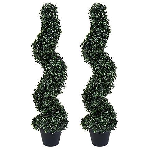 Charles Bentley - 2 künstliche Formschnitt-Bäume - Spirale - UV-beständig - 90cm