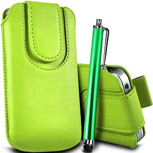 Brun/Brown - Alcatel Pixi 3 (4) Housse et étui de protection en cuir PU de qualité supérieure à cordon avec fermeture par bouton magnétique et stylet tactile pour par Gadget Giant® Vert/Green & Stylus Pen