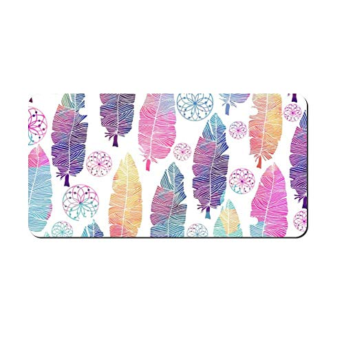 DKISEE Boho Feather Metal Front License Plate Tag Auto Car Tag Vehicle Tag 4 12x6 inches