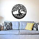 supmsds Arbre De Vie Vinyle Sticker Mural Amovible Grand Arbre Sticker Chambre Salon Décoration Art Mural 98x98cm