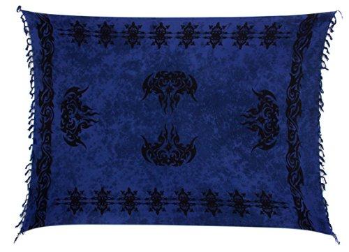 Sarong Pareo Wickelrock Strandtuch Tuch Wickeltuch Handtuch Bunte Sommer Muster Set Gratis Schnalle Dunkel Blau Keltisch (Damen Pareo Sarong Muster)