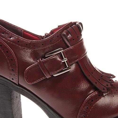 La Modeuse - Richelieus à talons femme aspect cuir Rouge