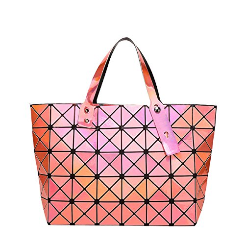 Damen Geometrische Falten Diamant Tasche Umhängetasche Handtasche Orange