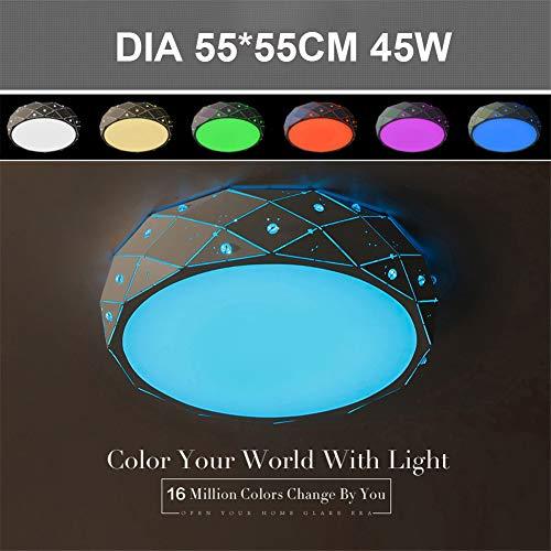 SHELLTB Mordern Deckenleuchte Dimmbar Runde Led Aufputz 4400 Lumen Feucht Gelistet RGB Farbwechsel Acrylschirm Ul Und Energy Star,BrightnessDimmable -