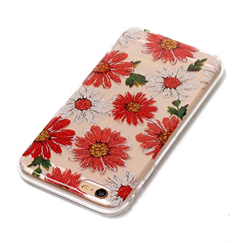 iPhone 6S Plus Hülle ,Fodlon® Ultra Slim Fit TPU Gel Skin BlinkenPulver Schutzhülle / Case / Cover -Zweige Pflaumenblüte Gänseblümchen
