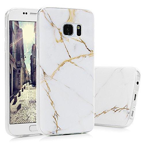 S7 Marmor Hülle, KASOS Marble Handyhülle : Silikon Case Weich TPU Huelle mit IMD Technologie für Samsung Galaxy S7, Weißes Gold