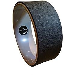 MyYogaWheels - Rueda de estiramiento para yoga y pilates, con soporte para la espalda, color gris y negro