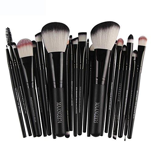 MRULIC 22pcs Make UP Pinsel Pinselset Schminkpinsel Kosmetikpinsel Kosmetik Brush Kunstleder Etui (B)