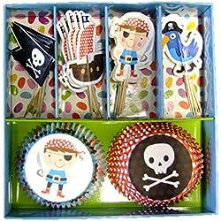 Set 24casos y banderas para tarta pirata.