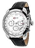 Creactive - CA120115 - Montre Homme Sportive Chronographe - Mouvement Quartz - Affichage Analogique - Cadran Argent - Bracelet Cuir Noir