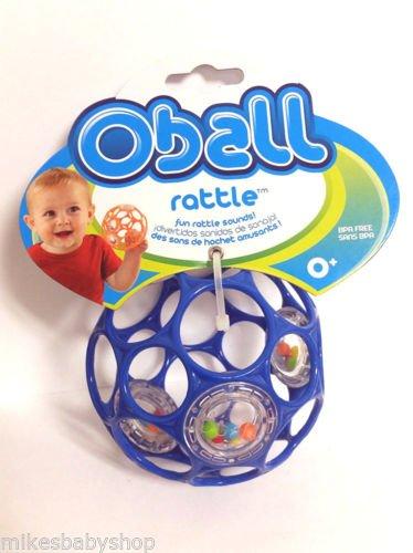 "O'ball Infant Rattle Flexible, 4"" bendable ball 0m+ Bpa Free (blue)"
