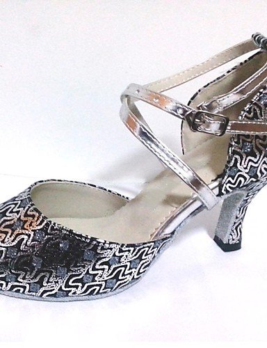 Dimensions shangyi gefertigter Paragraphe–Glitter–Latin/Chaussures de danse salsa/Standard–Femme Argenté - Argent