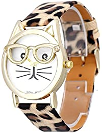 Relojes Pulsera Mujer,Xinan Lindo Vidrios Gato Análogo Cuarzo Dial (Caqui)
