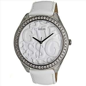 Guess - W85098L1 - Montre Femme - Quartz Analogique - Cadran Argent - Bracelet Cuir Blanc
