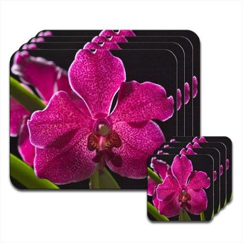 Orchidea delle Hawaii color Magenta screziata & Green Leaves &-Set di 4 tovagliette e sottobicchieri