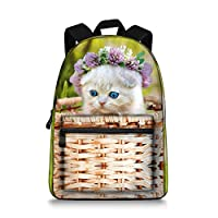 Cat School Backpack Cartoon Patterns Shoulder Bag