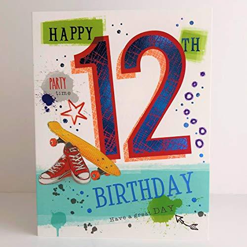 Geburtstagskarte für Jungen zum 12. Geburtstag, mit Rollschuhen