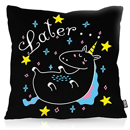 VOID Later Sleepy Unicorn Einhorn Kissenbezug Kissenhülle Outdoor Indoor, Kissen Größe:80 x 80 cm