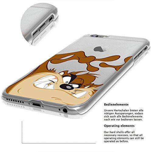 finoo | IPHONE 6 / 6S Lizensierte Hardcase Handy-Hülle | Transparente Hart-Back Cover Schale mit Looney Tunes Motiv | Tasche Case mit Ultra Slim Rundum-schutz | Tweety freut sich Taz Hands up