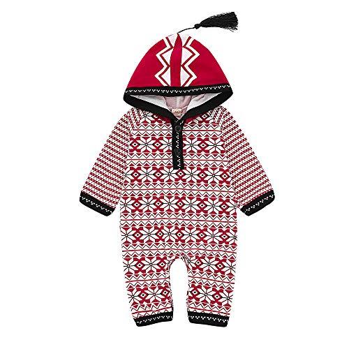 Cuteelf Baby Weihnachten Langarm Hirsch mit Kapuze Siamese Strampler Walker Weihnachten geometrische Hoodie Overall Siamese Quaste Mode niedliche Kleidung