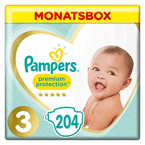 Pampers Premium Protection Windeln, Gr.3, 6-10kg, Monatsbox, 1er Pack (1 x 204 Stück)