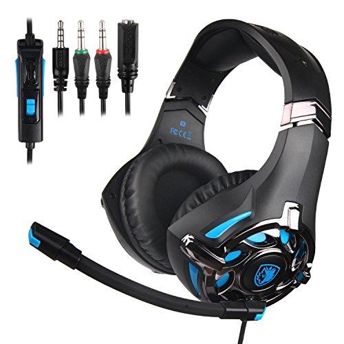 Casque de Jeu Sades SA822 Gaming Headset sur-Oreille pour PS4, PC Portable Xbox One PC (Noir/Bleu)